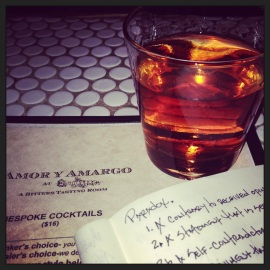 GRANDYMAN at Amor y Amargo (savory, 3-booze cocktail soused with Creole Bitters)