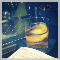 KENTUCKY RIVER (bourbon, creme de cacao, peach bitters) channeling childhood dreams at The Beagle, nyc