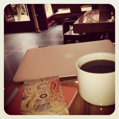airbook, wee notebook from the australian outback (gifted by Madam Editrix), americano at elsewhere cafe