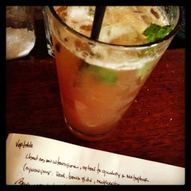 End-of-the-season PORCH SWING (bourbon, house sweet tea, mint) cocktail at the southern-tinged restaurant The Readhead