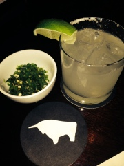 Margarita + Chopped Chilies = logical pairing at El Toro Blanco