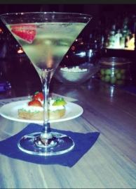 My barstool neighbor's Happy Hour cocktail and snack festivities at Gusto