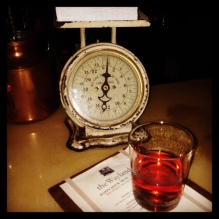 Weighing options at The Wayland (went with Sazerac)