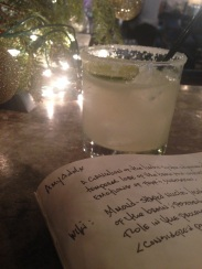 First margarita of 2014, writing amidst the last vestiges of holiday decor